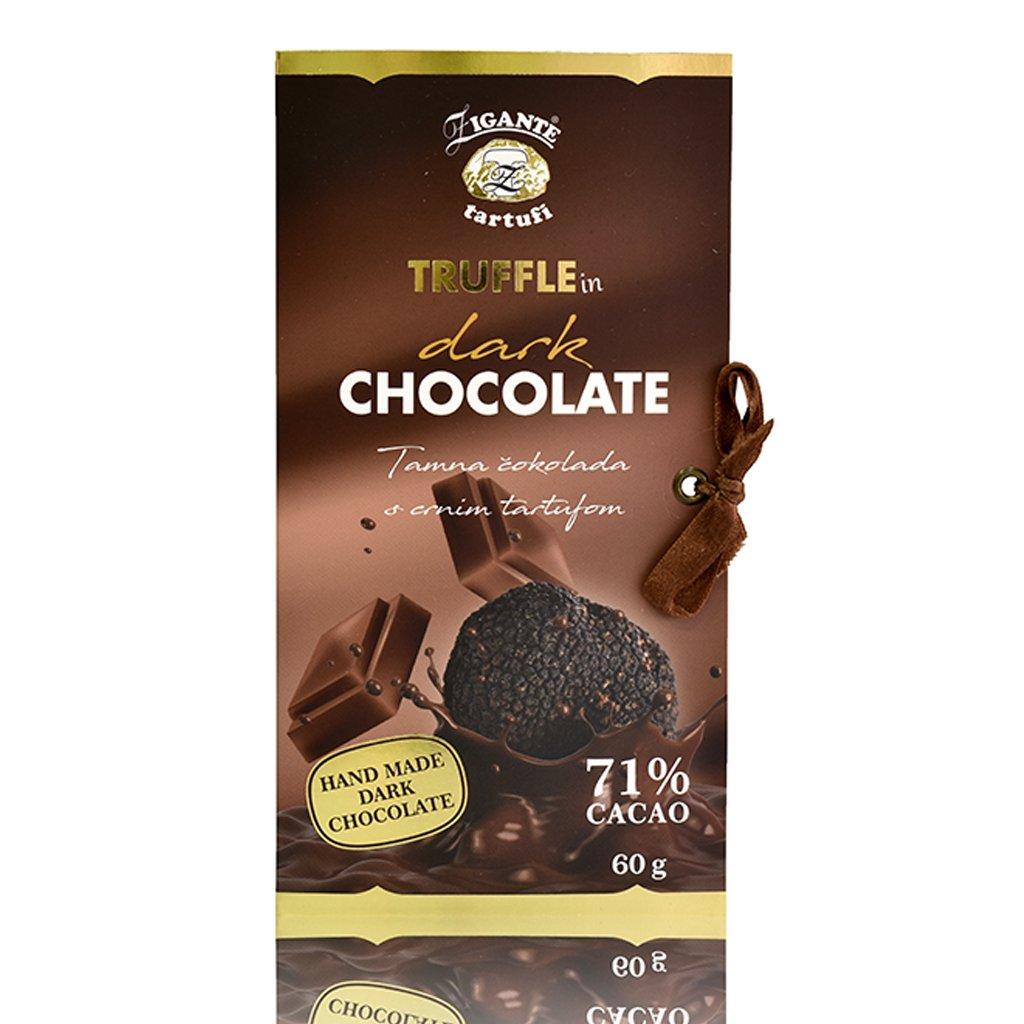 Dark chocolate with black truffles