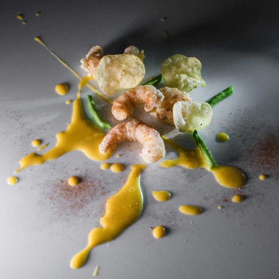 Shrimp tempura with black truffle seasoning and truffle chips