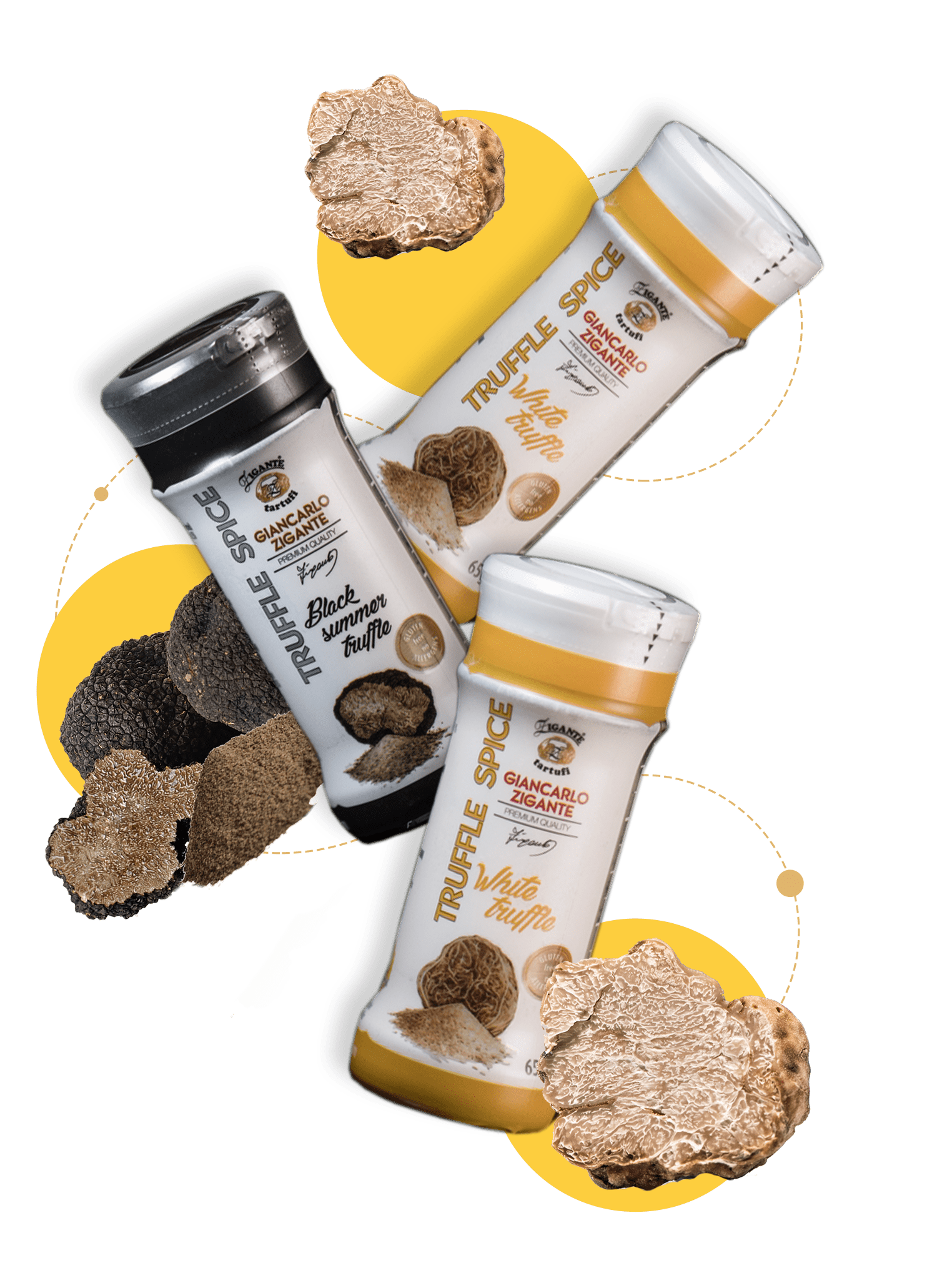 Powdered spices with lyophilized truffles