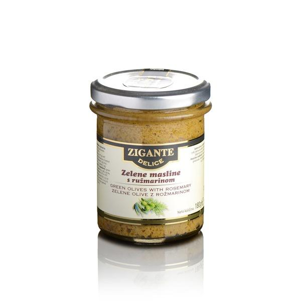 Green olives with rosemary