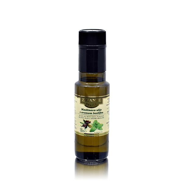 Olive oil with basil flavour